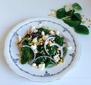 spinaziesalade met verse geitenkaas