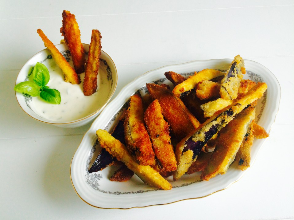 aubergine frietjes met yoghurt-basilicummayonaise
