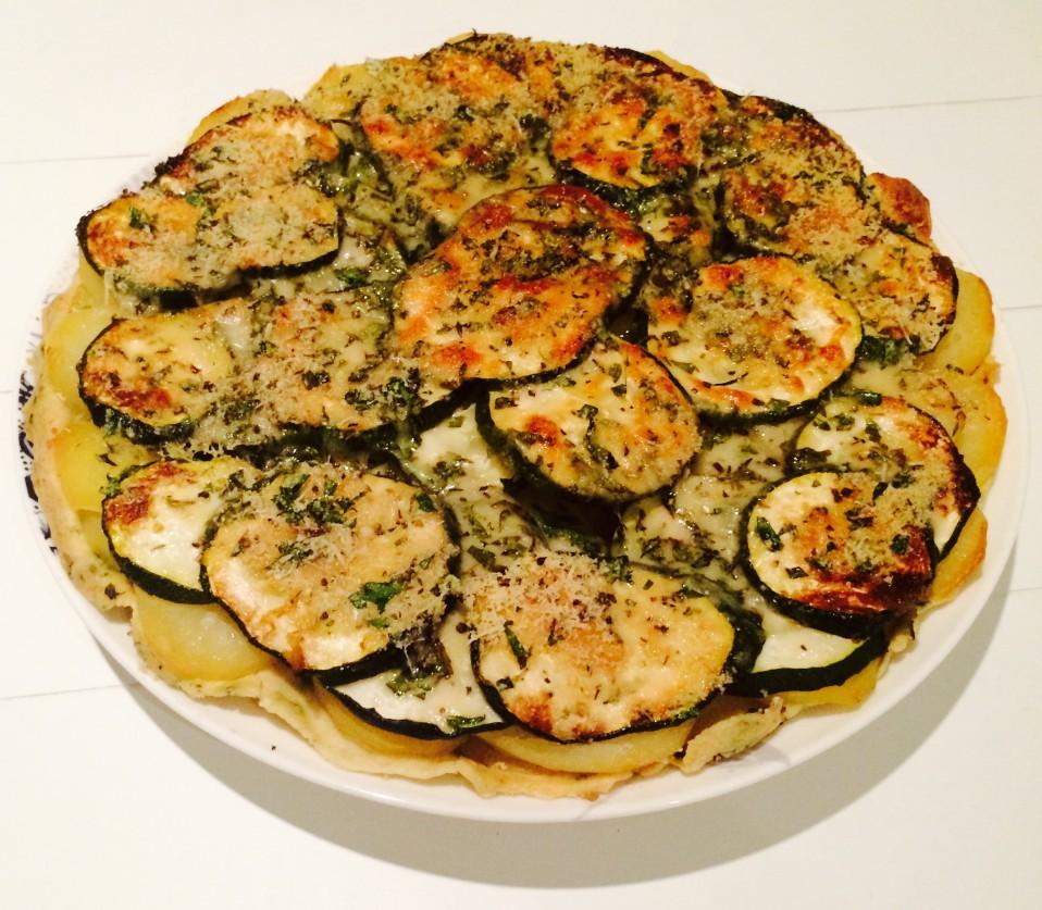 courgette-aardappeltaart met munt en parmezaan